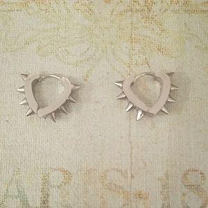 Tasteful Silver Spiked Earrings